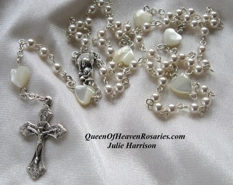 Tiny Swarovski Pearl Wedding Rosary, Baptism Rosary, Mother's Day Rosary, Gifts for Mom