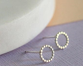 Handmade Dotted Studs - Sterling Silver Earrings | Simple jewellery | O studs | Circle studs | Mini circle studs | Tiny studs | Geometric