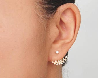 Leaf Ear Jackets, Gold Laurel Earrings. Twig Ear Jackets. Gold Leaf Earrings. 14K GF. Nature Inspired. Small Leaf. Dainty Twig Earring
