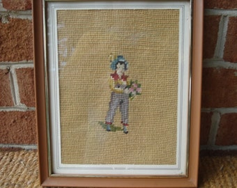 Vintage Framed Needlepoint Picture of Youth Holding Bouquet