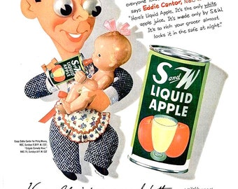1952 Eddie Cantor S and W Liquid Apple Juice & Artzybasheff Illustration Art Shell Motor Oil Advertisements Print Poster Wall Art Home Decor