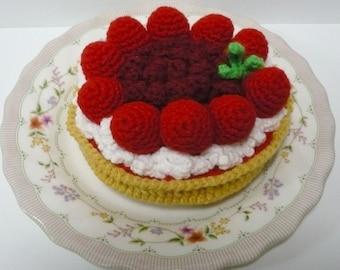Pie Crochet Pattern Dessert Food Pattern PDF Instant Download Red Currants and Strawberries Pie