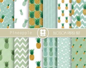Digital Paper, Pineapple Digital Paper Scrapbook Paper Pack, Scrapbooking, Pineapple - INSTANT DOWNLOAD  - 2007