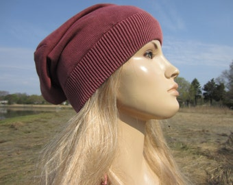 Lightweight Slouchy Beanie Acid Washed Cotton Knit Tam Baggy Back Brick Red Terracotta Women's Summer Hats A1710