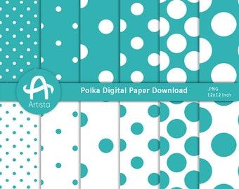 Polka Digital Paper Downloads for Scrapbooking and Crafts Digi Download Teal
