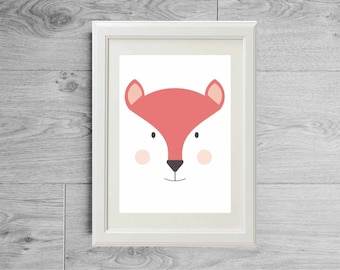 Illustration print fox face - Kid's room wall art - Nursery art - Nursery art print - Children baby furniture - printed on matte paper