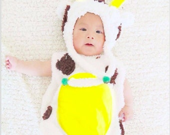 RAEWADOLLY Baby COW costume with customised initial