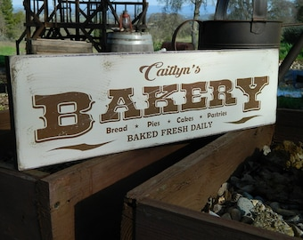 """Distressed Primitive Country Wood Sign - Your Name Bakery  5.5"""" x 19"""""""