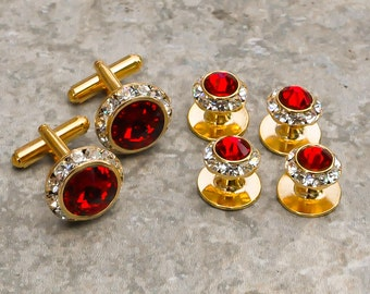 25 colors, Crystal shirt studs and cufflinks, gold or silver finish.  Tuxedo shirt studs and cufflinks, Groom Wedding Gift