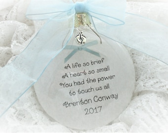 In Memory Ornament, A Life So Brief, A Heart So Small, Free Personalization and Charm