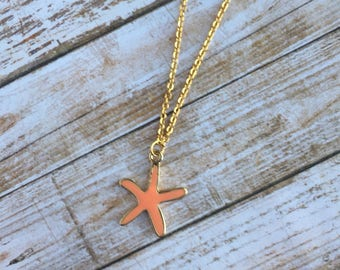 Starfish Necklace - Beach Necklace - Summer Jewelry - Sea Star Necklace - Nautical Necklace - Charm Necklace - Gold Stainless Steel Chain