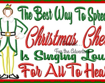 North Pole Santa's Elf Boy The Best Way to Spread Christmas Cheer Sketch Saying Combo Design Digital Embroidery Machine Design File 5x7 6x10