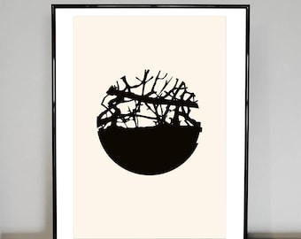 Twig Slice, black and white abstract print, trees, circles, watercolour paper