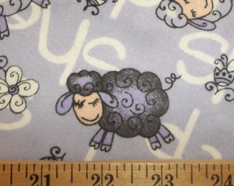 Sleepy Sheep Lambs on Purple Lavender Flannel Fabric By the Yard OOP