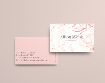 100 Luxury  Printed Business Card Minimalist Uncoated or Laminated Matt Velvet Gloss - Pink Marble / Personalised contact cards / custom