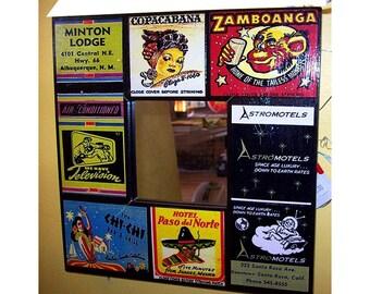 retro matchbook mirror vintage Fifties advertising match book rockabilly pin up kitsch