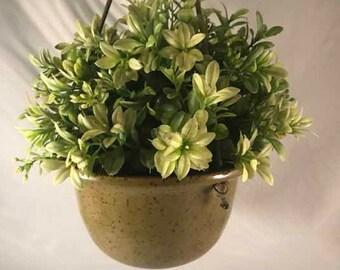 Medium Olive Green Hanging Planter - Stoneware