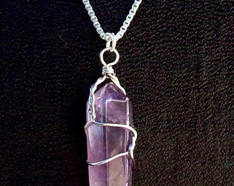 """VISION IN VIOLET ll Amethyst and  Sterling silver w/ 20"""" chain"""