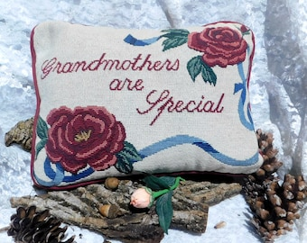 Grandmothers are special - grandmother pillow - grandmother needlepoint pillow - grandmother gift - great grandma gift -  # 86