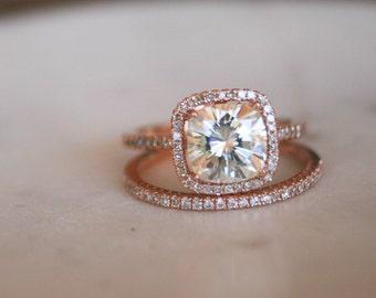 Diamond Halo Cushion Engagement Ring, Moissanite Engagement Ring with Halo and Moissanite Center Stone, Rose Gold Engagement