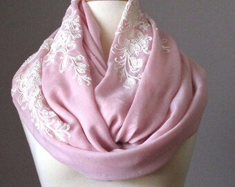 Infinity Scarf, Floral Scarf, Embroidered Blush Scarf, Pink Circle Infinity Scarf, Light scarf, Spring scarf