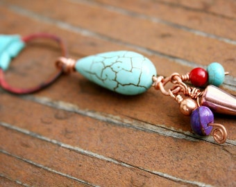 CARTER Turquoise, Coral, Leather, Copper and Sterling Necklace