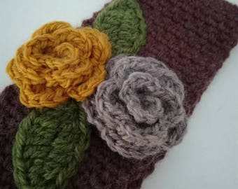 Ear warmer head band, crochet ear warmer, flower head band
