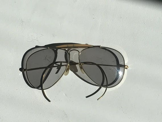 Handsome Ray-Ban Outdoorsman Aviator Grey Glasses Gold Plated