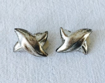 Vintage Givenchy Paris New York Silver Tone Clip On Earrings