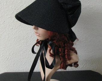 Women's Pioneer Prairie Victorian Civil War Mourning Bonnet Sunbonnet Primitive, yard work, reenactment, historical, black hat, 1800's Trek