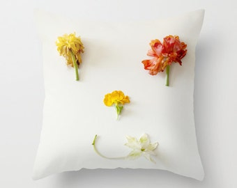 Ranunculus Pillow - Flower Pillow Case - Smile Pillow Cover - 16x16 18x18 20x20 Happy Pillow Cover