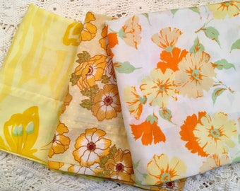 Set of 3 Vintage Pillowcases - Florals - Butterflies Yellow Mix - 1970s - Standard Size - Butterfly