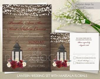 Lantern Wedding Invitation Set Marsala Wedding Rustic Wedding Printable Set RSVP  Country Wedding Metal lantern Burgundy Digital Template