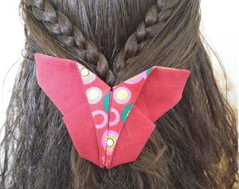 Butterfly cotton fabric origami barrette hair clip