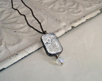 White Lace Long Necklace Glass Jewelry
