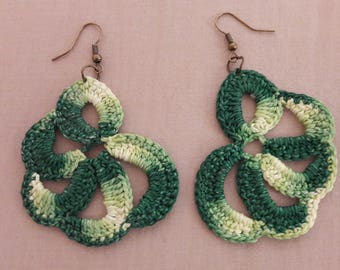 Variegated green earrings
