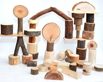 50 natural tree building blocks, Montessori inspired wooden toy, Wood personalized toys, Natural organic blocks, Waldorf first toddler toy