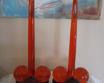 Vintage Orange Lucite Candle Holders with Lucite Candles Wood Base Mid Century Modern
