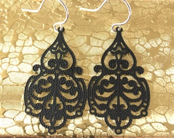 Black Filigree Ornate Scroll Chandelier Dangle Earrings