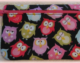 Owls fabric purse, bag with zipper, gadget bag, zipper pouch, cosmetic bag, pencil case, birthday teacher sister mom grandmother gift idea