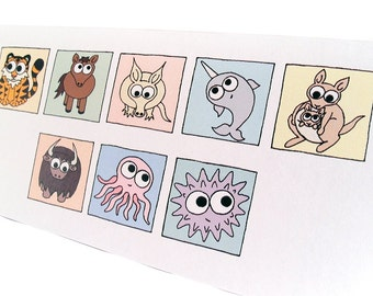 "Thank You Card - Cryptic Animals - long card with cute cartoon creatures spelling out the words ""thank you"" - say it with animals"