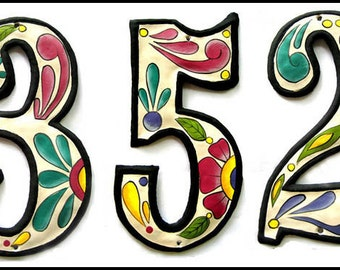 """4 Metal House Numbers - 7 1/2"""" Hand Painted Metal Address. Haitian Recycled Steel Drum, Decorative House Number, Haitian Metal Art-AD-100-7W"""