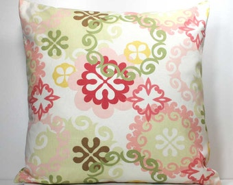 SALE - 18 x 18 inch Decorative Throw Pillow Cover- Multi-Colored on Off White - Invisible Zipper Closure