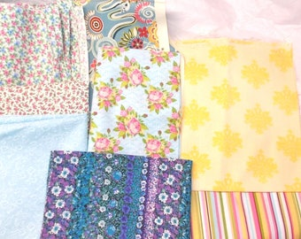 Sewing destash cotton fabrics fat quarters striped stripes flower floral yellow multi prints yellow pink blue multi colors crafts hobbies fq