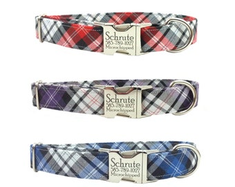 Personalized Laser Engraved Nickel Finish Metal Buckle Plaid  Dog Collar - Choose from 3 Colors! 2-3 Week Ship Time
