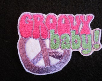 Embroidered Groovy Baby Peace Sign Iron On Patch, 60's Patch, Retro Patch, Peace Sign, Groovy Patch