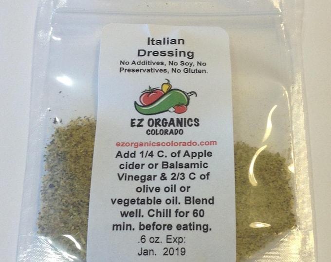 Organic  Italian Dressing dry mix  Gluten free. No sulfites Vegan freindly,