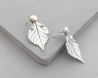 Double Sided Earring - Sterling Silver - Ear Jacket - Front Back Earrings - Silver Stud Earrings - Jacket Earrings - Leaf Earrings