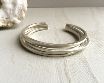 Silver stacker cuffs, Sterling silver stackable bracelets, Brushed silver stacking cuffs, Thin silver cuff set, Silver stacking cuffs