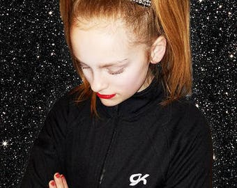 Amazing LARGE BLACK Tailless  rhinestone Allstar cheer bow  by Funbows !